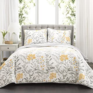 Lush Decor Aprile Reversible Quilt 3 Piece Floral Leaf Design Bedding Set-Full Queen-Yellow and Gray