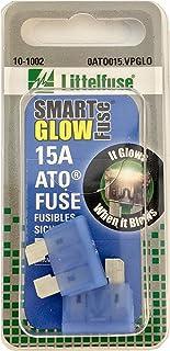 Littelfuse 0ATO015.VPGLO ATO SmartGlow 12 Volt DC 15 Amp Fuse, (Pack of 2)