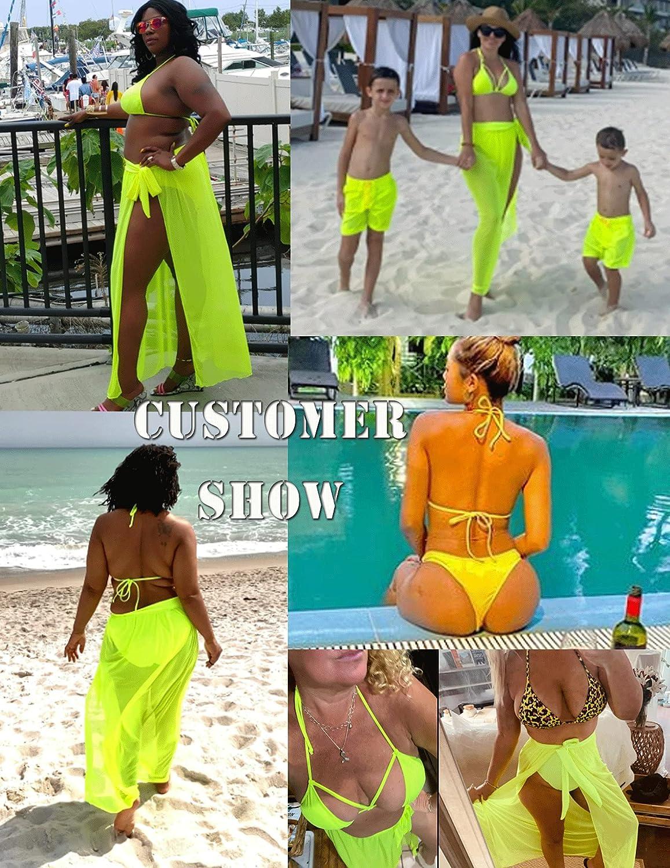 ELOVER Women Halter Bikini Set 3 Pieces Swimsuit Solid Padded Swimwear with Maxi Wrap Skirt Beach Vacation Swim Bath Wear