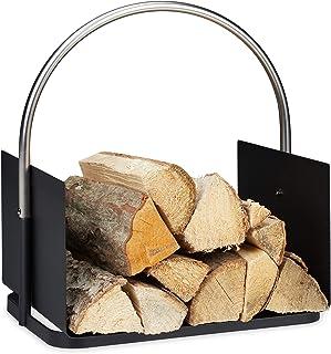 Relaxdays 10034338 Panier Bois de Chauffage, pour cheminée, en métal, poignée nickelée, Corbeille bûches, HxlxP 43,5x40,5x...