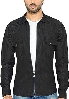 Global Rang Men's Full Zip Solid Denim Black Shirt