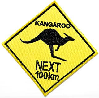 KANGAROO NEXT 100 km Australia Wild Animal Lady Rider Logo Biker Jacket T shirt Patch Sew Iron on Embroidered Badge Sign Custom Gift