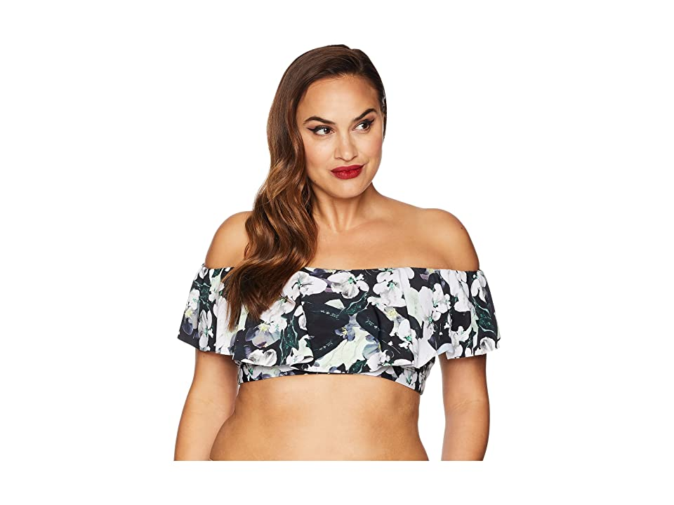 Unique Vintage Plus Size Ramona Off Shoulder Top (Black/White Floral) Women