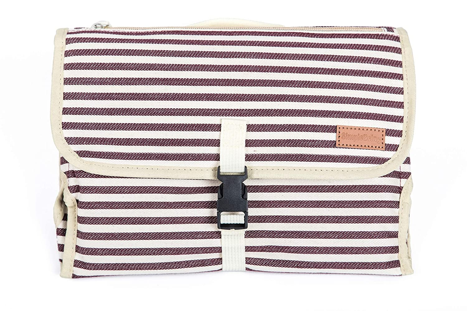 Simple Being Portable Changing Pad, Travel Diaper Canvas Clutch Mat, Diaper Bag Essential with Storage Pockets for Wipes and a Supportive Foam Head Pillow Padding (Red Stripe)