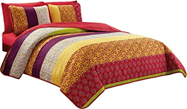 Chezmoi Collection Nova 6-Piece Floral Medallion Bedspread Coverlet Set with Fitted Sheet, Queen Size