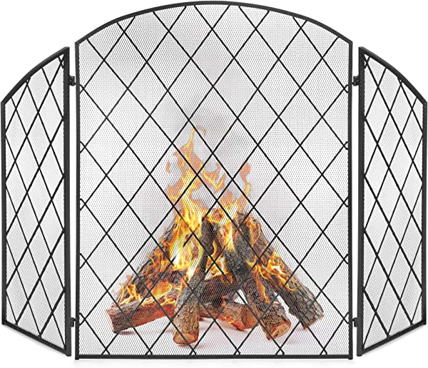Best Choice Products 3 Panel 50x30in Wrought Iron Decorative Mesh Fireplace Screen Gate Protector Fire Spark Guard For Indoor And Outdoor W Folding Side Panels Black