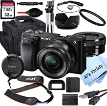 Sony Alpha a6100 Mirrorless Digital Camera with 16-50mm Lens+ 32GB Card, Tripod, Case, and More (18pc Bundle)