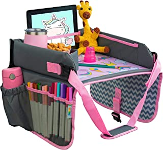 Kids Travel Tray - Car Seat Tray - Travel Lap Desk Accessory for Your Child's Rides and Flights - it's a Collapsible Organ...