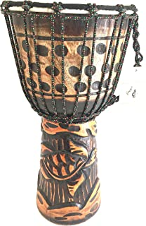 Djembe Drum SOLID Wood Deep Carved Turtle Bongo Congo African Drum PROFESSIONAL QUALITY/SOUND - JIVE BRAND - NOT MADE IN CHINA