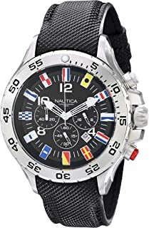 Men's N16553G Stainless Steel Watch with Black Band