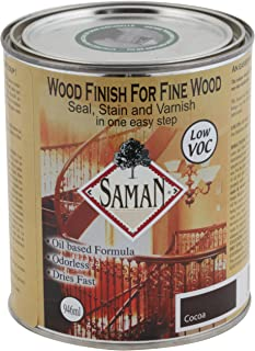 SamaN SAM-311-1L 1-Quart Interior Stain for Fine Wood for Seal, Stain and Varnish, Cocoa