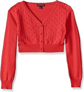 Big Girls' Heart Pointelle Long-Sleeve Cardigan Sweater