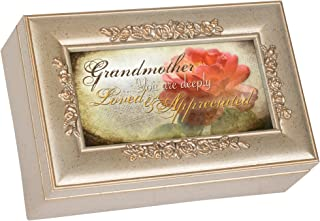 Cottage Garden Grandmother Champagne Silver Petite Rose Music Box/Jewelry Box Plays Wind Beneath My Wings