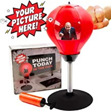 Desktop Punching Bag with Photo Insert - Stress Relieving Boxing Ball with Picture Holder Target and Strong Desk Suction Cup - Perfect Office Gag Gift, White Elephant or Secret Santa