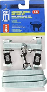 Catit Nylon Adjustable Cat Harness and Leash Set, Large, Blue