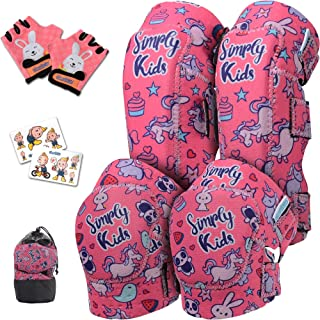 Simply Kids Innovative Soft Knee and Elbow Pads with Bike Gloves I Toddler Protective Gear Set w/Mesh Bag I Comfortable & ...