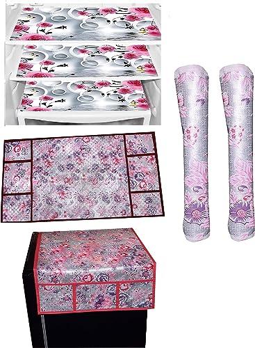 MoonLight Decorative Kitchen Combo Fridge Top Cover 22 X 39 Inches Fridge Handle Covers 12 X 6 Inches 3 Fridge Mats 11 X 17 Inches 6 Piece Set Silver Pink Flower