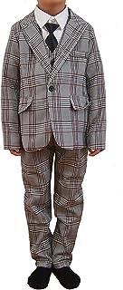 男の子 スーツ 5点セット ジャケット パンツ ベスト シャツ ネクタイ 結婚式 入学式 卒業式 卒園式 発表会 七五三 キッズ フォーマル ライトグレー 茶 チェック