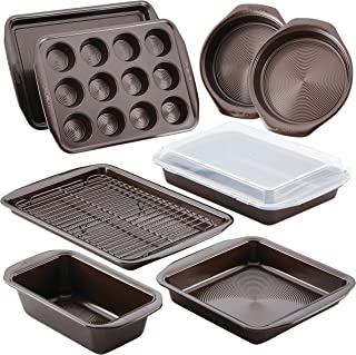 Circulon 46857 Nonstick Bakeware Set with Nonstick Bread Pan, Baking Pans, Baking Sheets, Cookie Sheets, Cake Pan and Muffin Pan / Cupcake Pan - 10 Piece, Chocolate Brown