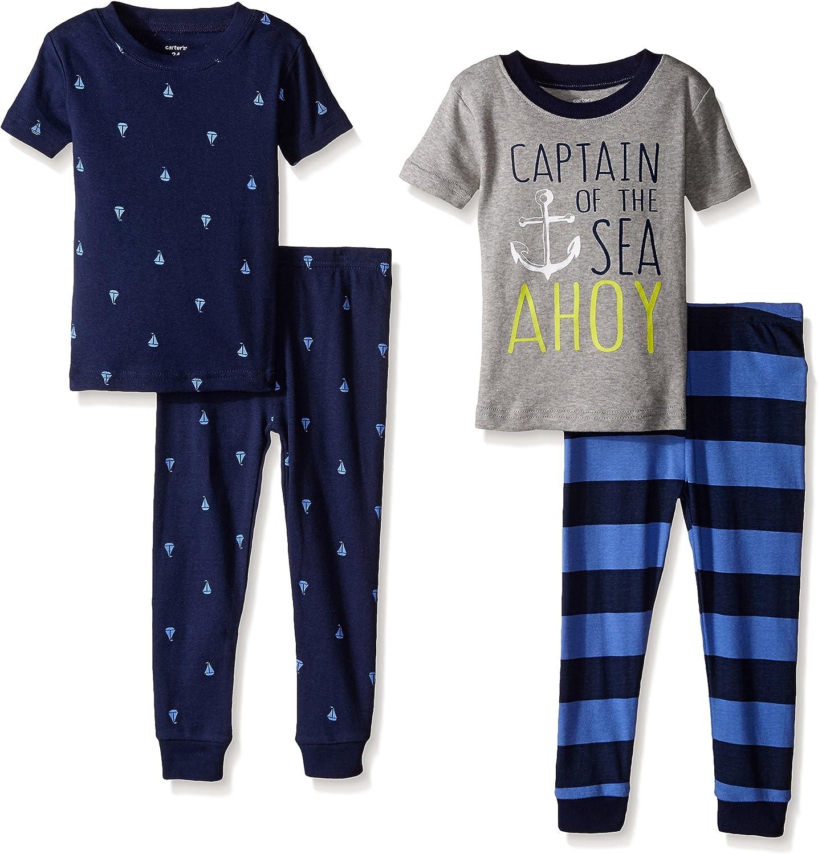 Carter's Baby Boys' 4-Piece Pant PJ Set, Captain, 9 Months