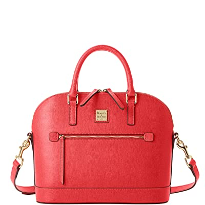 Dooney & Bourke Saffiano Domed Zip Satchel (Tomato) Handbags