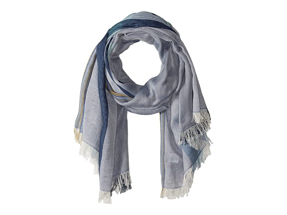 Echo Design Mad About Plaid Oblong Scarf (Chambray) Scarves, White