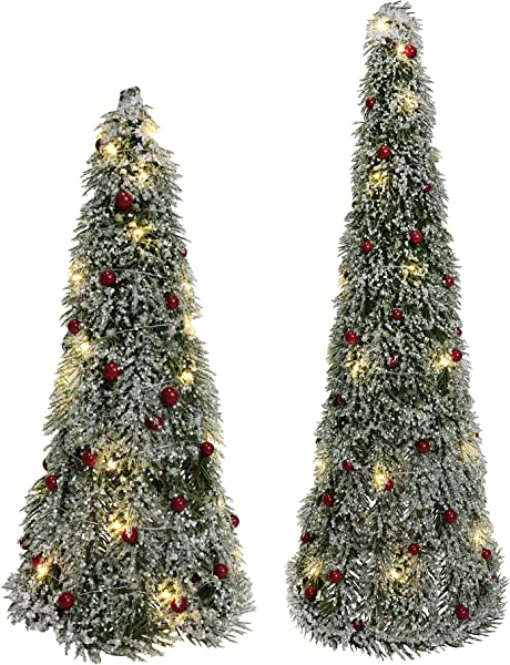Department 56 Sparkle Lit Pine Berry 24 Set Of 2 Tree Set Green
