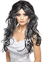 Smiffys Women's Long and Curly Wig with Silver and Black Streaks, One Size, Gothic Bride Wig, 5020570358283