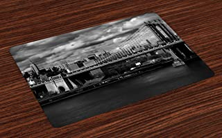 Ambesonne New York Place Mats Set of 4, Black and White Panorama of New York City Skyline with Focus on Manhattan Bridge Photo, Washable Fabric Placemats for Dining Table, Standard Size, Grayscale