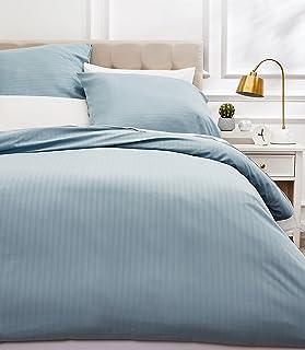Amazon Basics Parure de lit avec housse de couette haut de gamme avec deux taies d'oreiller, 260 x 240 cm, Bleu spa