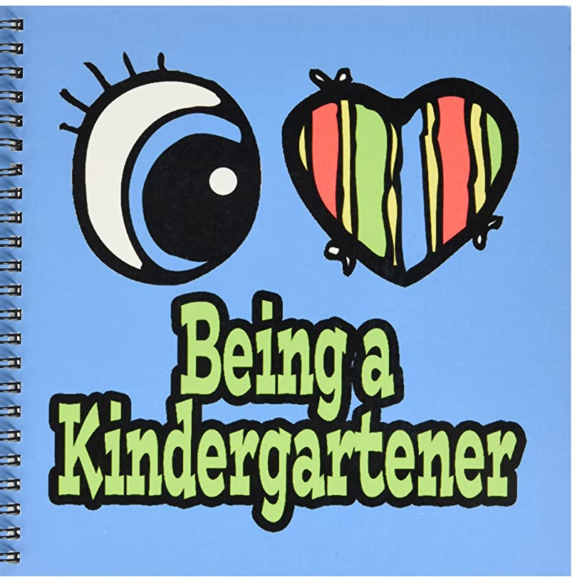 3dRose db_105772_1 Bright Eye Heart I Love Being a Kindergartener-Drawing Book, 8 by 8-Inch