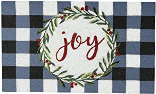 """Best Elrene Home Fashions Farmhouse Living Holiday Plaid Joy Wreath Coir Doormat for Entryway/Front Door/Porch, 18""""x30"""" Mat Reviews"""