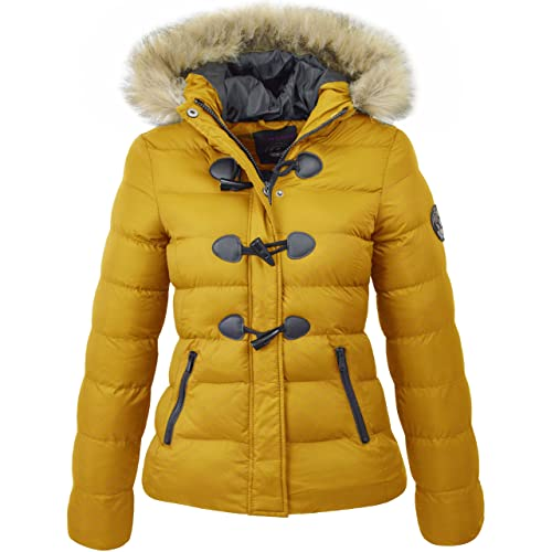 M1427 New Womens Ladies Quilted Winter Coat Puffer Fur Collar Hooded Jacket  Parka Size WIZZADSHORT 2017 00c3d6fc26