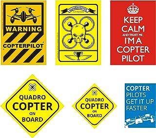 DasFlugbuch.de Aufkleber für Drohnen und Copter Piloten / Set mit 10 Sticker / 5 Motive / witterungsbeständig / Badges für Auto Transportkoffer Koffer Lipo Bag / tolle Geschenkidee