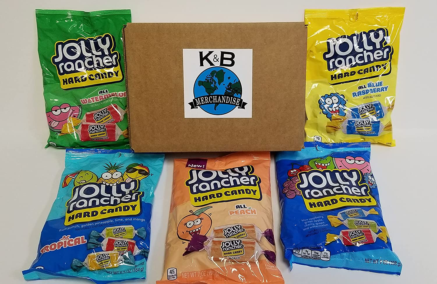 Jolly Rancher Hard Candy Variety Pack of 5 Tasty Assorted Fruity Flavors: Peach 7oz, Blue Raspberry 7oz, Watermelon 7oz, Tropical 6.5oz and Traditional 7oz = 34.5 Ounces in Total! Sealed and Packed in a K&B Merchandise Sturdy Box