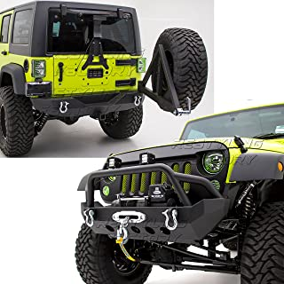 Restyling Factory -Rock Crawler Front Bumper w/ Winch Plate+Rear Bumper with Tire Carrier and 2