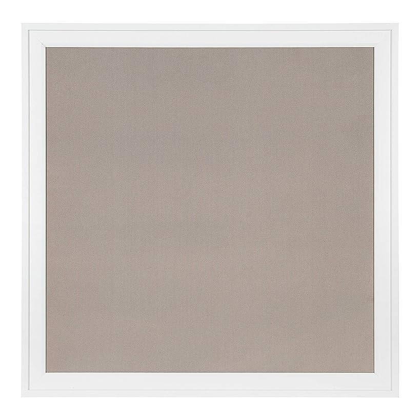 DesignOvation Bosc Square Framed Linen Fabric Pinboard, 31.5x31.5, White