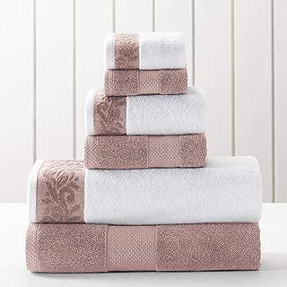 Amrapur Overseas 600 GSM 6-Piece Towel Set with Filgree Jacquard Border, Rose