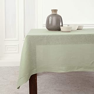 Solino Home Hemstitch Linen Tablecloth - 60 x 120 Inch, 100% Pure Linen Sage Green Tablecloth for Indoor and Outdoor use