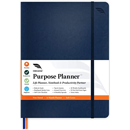 Purpose Planner Undated Monthly Weekly Daily Productivity Journal 2021 Optimised Life, Goal Setting & Business Tool for Academic Student, Professionals, Mums - Holistic Day Organiser Notebook (Navy Soft Cover)