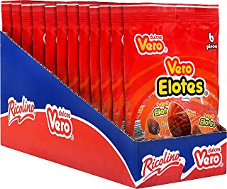 Dulces Vero, Vero Elote – Strawberry and Chili Flavor Lollipop Candy - Sweet and Spicy Mexican Candy, Box with 12 Bags of 6 Lollipops