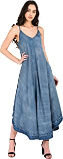 Modern Womens Spaghetti Strap Denim Tencel Maxi Slip Dress