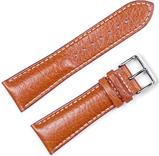 deBeer Brand Sport Leather Watch Band (Silver & Gold Buckle) - Havana 19mm (Long Length)