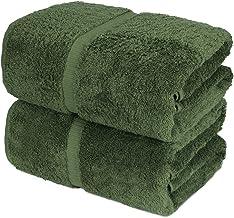 Towel Bazaar 100% Turkish Cotton Bath Sheets, 700 GSM, 35 x 70 Inch, Eco-Friendly (2 Pack, Moss Green)