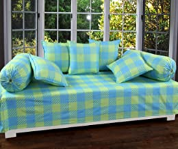 BADOTI Printed Designer Cotton Diwan Set with 8 Pieces, 1 Single bedsheet with 5 Cushions Covers and 2 Bolster Covers with Attractive Color & Design