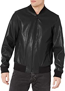 mens Faux Leather Bomber Jacket