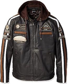 LeatherTeknik DC-4090 Chaqueta de piel para hombre con armadura color marr/ón