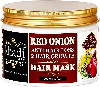 Khadi Global Red Onion Oil Anti Hair Loss & Hair Growth Deep Conditioning Hair Mask 300ml | 10 Fl.Oz | Best Hair Growth Hair Mask | For Extreme Hair Fall | Luxurious – Natural –