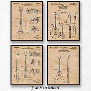 Original Gibson Guitar Patent Poster Prints, Set of 4 (8x10) Unframed Photos, Great Wall Art Decor Gifts Under 15 for Home, Office, Man Cave, Garage, College Student, Teacher, Band & Rock n Roll Fan