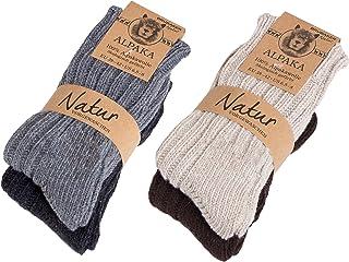 BRUBAKER, 4 pares de calcetines para mujer de pura lana de alpaca naturales y grises